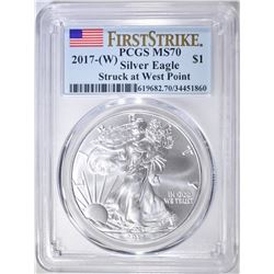 2017-(W) SILVER EAGLE, PCGS MS-70 FIRST STRIKE