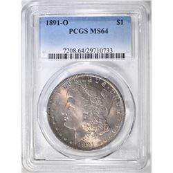 1891-O MORGAN DOLLAR  PCGS MS-64 RAINBOW COLOR