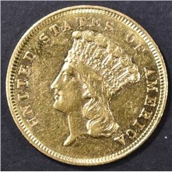 1855 $3 GOLD INDIAN PRINCESS  CH AU