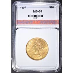 1907 $10 GOLD LIBERTY  AGP GEM BU