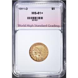 1911-D $5 GOLD INDIAN  WHSG CH BU+