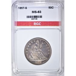 1857-S LIBERTY SEATED HALF DOLLAR  BGC CH BU