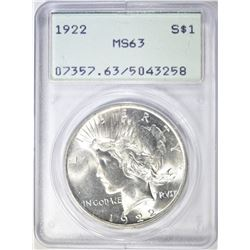 "1922 PEACE DOLLAR  PCGS MS-63  ""OLD RATTLER"""