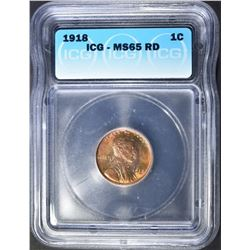 1918 LINCOLN CENT  ICG MS-65 RD