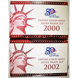 2-2002 U.S. SILVER PROOF SETS ORIG PACKAGING