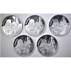 5-ONE OUNCE .999 SILVER ROUNDS SILVERTOWNE