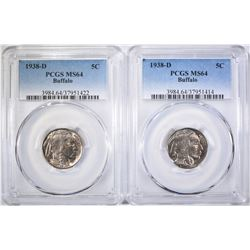 2-1938-D BUFFALO NICKEL, PCGS MS-64