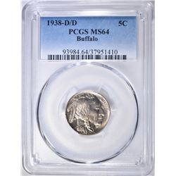 1938-D/D BUFFALO NICKEL, PCGS MS-64