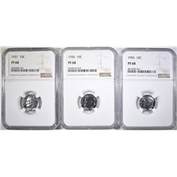1955, 56, 57 ROOSEVELT DIMES, NGC PF68