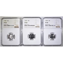 1958, 59 & 60 ROOSEVELT DIMES, NGC PF-68