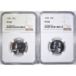 1955 & 56 WASHINGTON QUARTERS, NGC PF-68