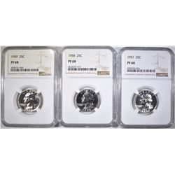 1957, 58 & 59 WASHINGTON QUARTERS, NGC PF-68
