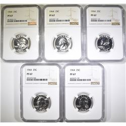 (5) 1964 WASHINGTON QUARTERS NGC PF 67