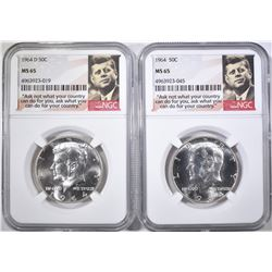 1964 & 64-D KENNEDY HALF DOLLARS, NGC MS-65