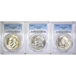 3-1973-S SILVER EISENHOWER DOLLARS, PCGS MS-67