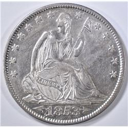 1853-O ARROWS AND RAYS SEATED HALF DOLLAR, AU/BU