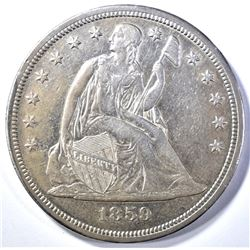 1859-S SEATED DOLLAR, AU./BU RARE,