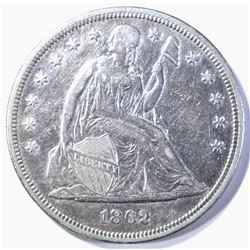 1862 SEATED DOLLAR, AU+ CIVIL WAR ISSUE