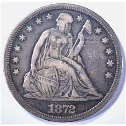 1872-S SEATED DOLLAR, AU KEY DATE