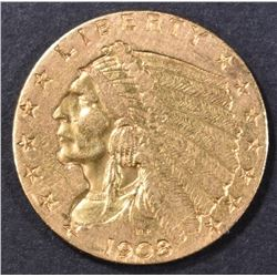 1908 $2.50 GOLD INDIAN, CH BU