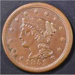 1851 LARGE CENT  AU/UNC