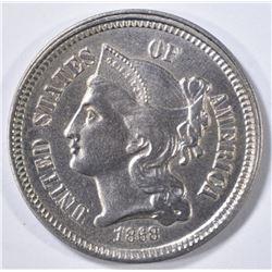 1868 3 CENT NICKEL  CH BU