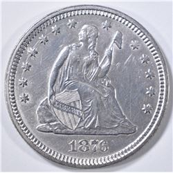 1876 SEATED LIBERTY QUARTER BU OLD CLEANING