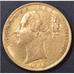 1863 GOLD SOVEREIGN VICTORIA BRITAIN CH BU