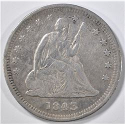 1843-O SEATED LIBERTY QUARTER  VF  ROUGH