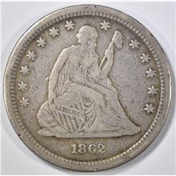 1862-S SEATED LIBERTY QUARTER  VF