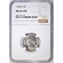 1948-S JEFFERSON NICKEL NGC MS-66 5FS