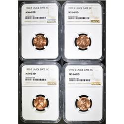 4 - 1970-S LG DT LINCOLN CENTS NGC