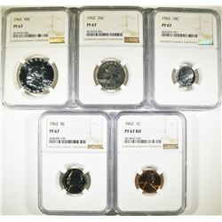 1962 U.S. PROOF SET - ALL NGC PF67 !