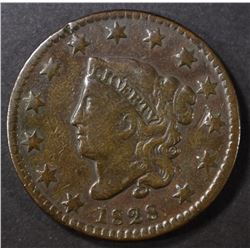 1828 SMALL DATE LARGE CENT, FINE bent, scratches