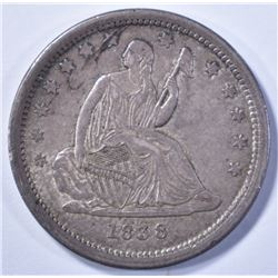 1838 SEATED LIBERTY QUARTER, AU