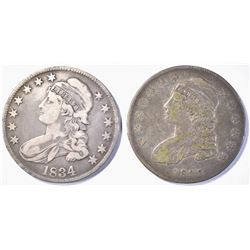 (2) CAPPED BUST HALF DOLLARS