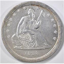 1838 SEATED LIBERTY QUARTER  AU/BU