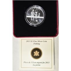 2013  $3 SILVER CANADA FISHING COIN