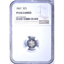 1867 3-CENT SILVER, NGC PF-64 CAMEO!