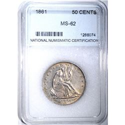 1861 SEATED HALF DOLLAR, NNC CH BU