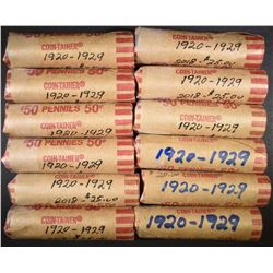 12-ROLLS CIRC LINCOLN CENTS FROM 1920-1929