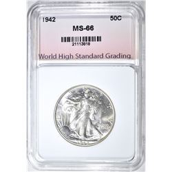 1942 WALKING LIBERTY WHSG SUPERB GEM