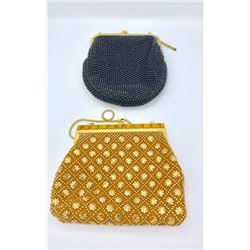 LOT OF TWO VINTAGE BEADED  PURSES, BLACK AND GOLD