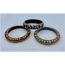 THREE VINTAGE BEADED BANGLES FROM INDIA