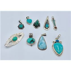VINTAGE LOT OF STERLING SILVER TURQUOISE PENDANTS