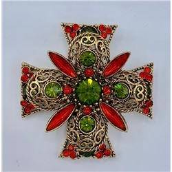 SIGNED EMMONS MALTESE CROSS BROOCH/PIN