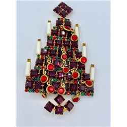 VASARI RHINESTONE CHRISTMAS TREE PIN/BROOCH