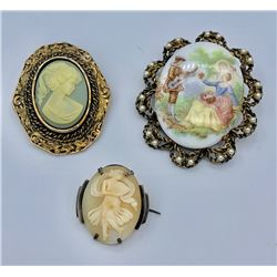 LOT OF THREE CAMEO BROOCHES/PINS