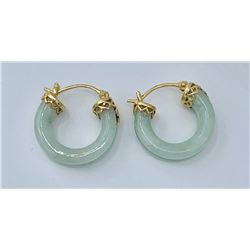 14K JADE PIERCED EARRINGS