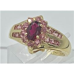 14K YELLOW GOLD RING, PINK STONES